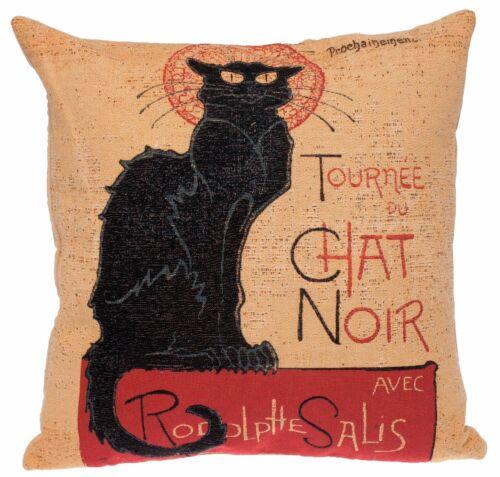 Jacquard Tissé Belge gobelin Tapisserie Coussin Oreiller Housse Le Chat Noir par Ste