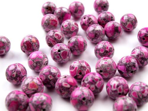 Round Stone Beads Ø10mm 5pcs Colour Jewellery Making