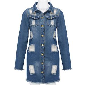 Women-Button-Long-Sleeve-Pockets-Denim-Hole-Open-Front-Jean-Jacket-Overcoat-Tops