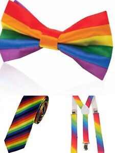 f07dd495bfa2 Image is loading Mens-Rainbow-Braces-Suspender-Strap-Bow-Tie-Bowtie-