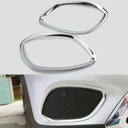 2Pcs Chrome Front Fog Light Lamp Cover Trim For Benz GLC Class X205 2015-2017