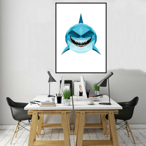 Shark Canvas Paints Poster Home Bedroom kitchen Bathroom Wall kid/'s Room Decor