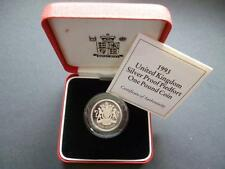 1993 UK ROYAL MINT SILVER PROOF PIEDFORT £1 COIN CASED WITH COA 1993 ONE POUND