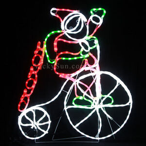 Milky-Tube-102CM-LED-Santa-Riding-Penny-Farthing-Bicycle-Christmas-Rope-Lights