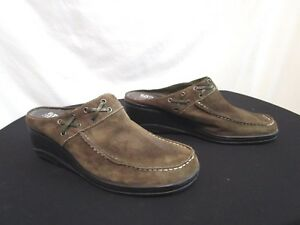 A2 By Aerosoles Olive Green Suede Wedge Mules Shoes Women Size 75 B