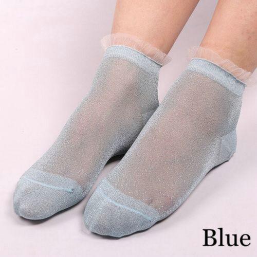 Ultrathin Transparent Colorful Glitter Crystal Lace Elastic Short Socks 1 Pair