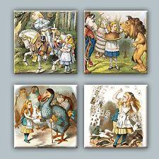 Set of 4 Ceramic tile magnet refrigerator Alice in Wonderland illustration