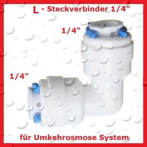 "Umkehrosmose Filter Zubehör NEU 2x L Steckverbinder 1//4/"" Zoll 2 Stück"