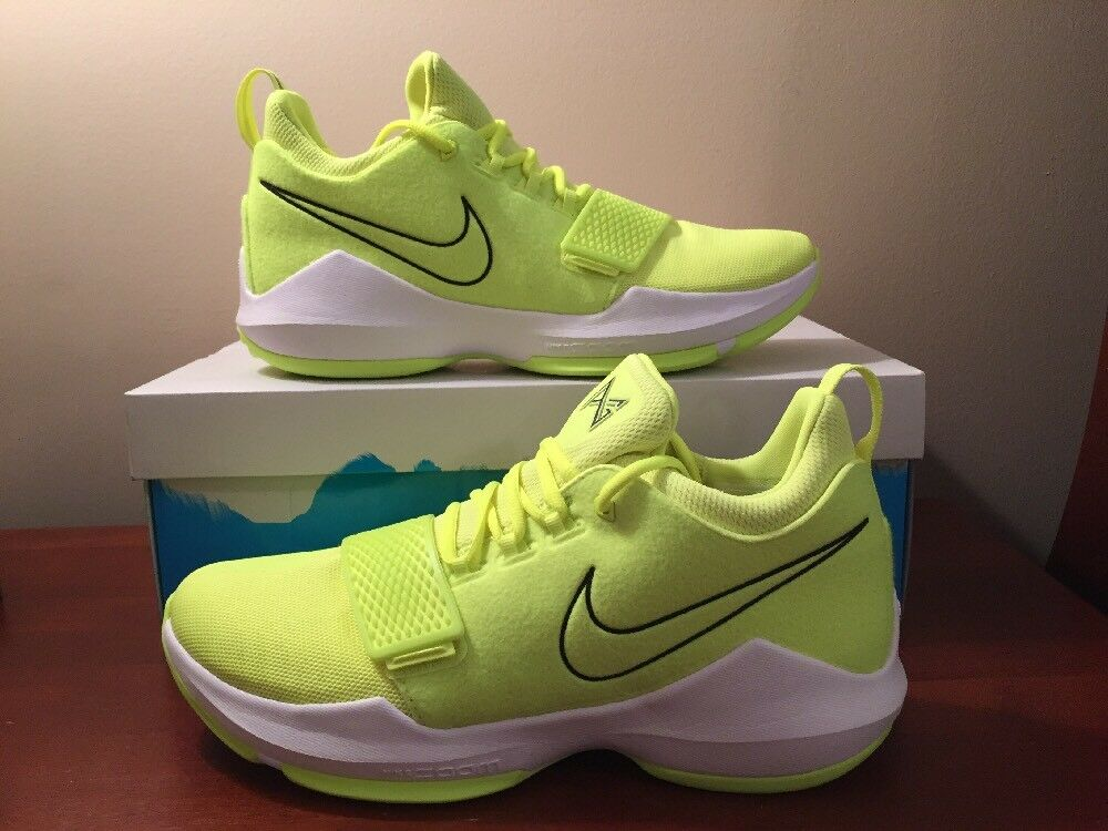 Size 11 Nike PG 1 Paul George Shoes Mens Volt Green Black White 878627 700