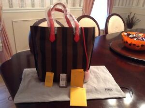 c6477519a8 Image is loading Fendi-Pequin-Striped-Canvas-Leather-Shopper-Tote-Bag-