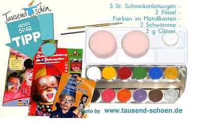 Sparset 12er Metallkasten, Eulenspiegel Schminke, Profischminkfarbe, Profi Ausgereifte Technologien