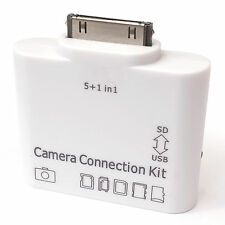 White USB SD Card Adapter With Keyboard Support Apple iPad Sync Pictures Photos