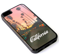 for iPhone 5C - Black California Sunset Blvd Hard TPU Rubber Gummy Skin Case