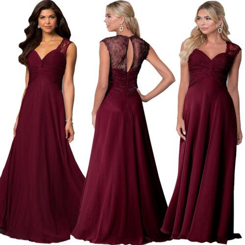 Roiii Women/'s Elegant V Neck Empire Waist A-Line Chiffon Long Evening Dress