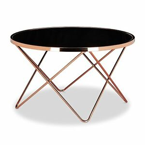 Coffee Table Porto Glass Round Stylish Decore CooperBlackCTCPBK - Cooper end table