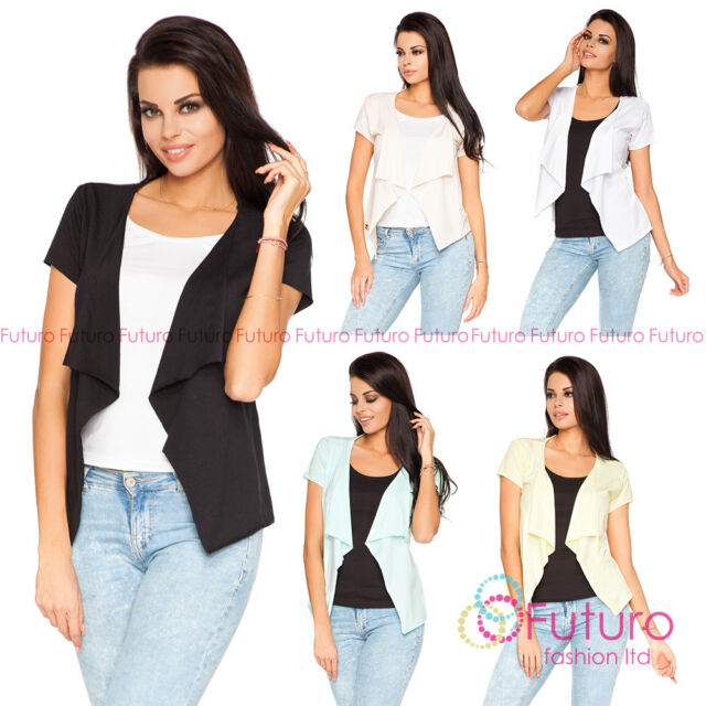 Trendy Fashion Blazer Waterfall Style Short Sleeve Cardigan One Size FT1024S
