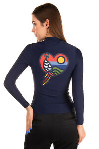 RRP-220-TORY-BURCH-T-Shirt-Top-Size-S-Macaw-Surf-Coated-Back-Half-Zip