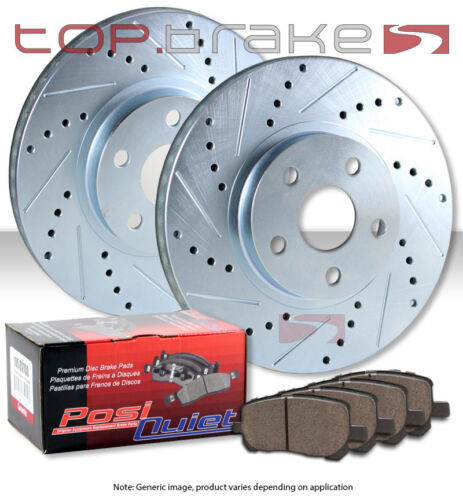 REAR TOPBRAKES Drill Slot Brake Rotors POSI QUIET SM Pads TBP57719
