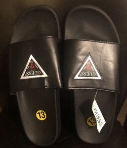 fb9943e462e18c Guess Black Men Logo Flip Flops Slides Beach Pool Sandals Slip On ...