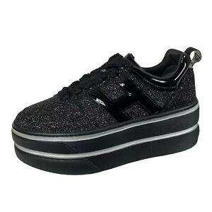 Details about E53 sneakers donna HOGAN H449 MAXI black silver glitter shoes women