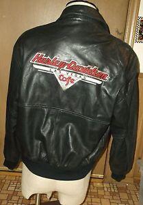 Harley Davidson Las Vegas Cafe Black Leather Motorcycle Biker Jacket