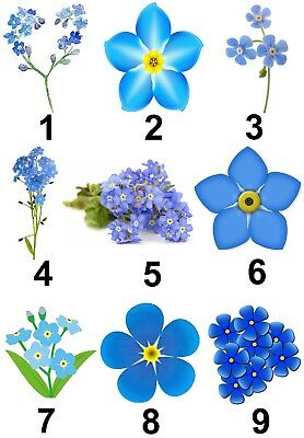 Blue Flowers 130 Small or 48 Large Sticky White Paper Stickers Labels NEW