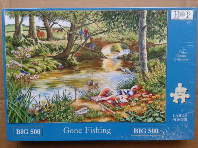 500 PIECE JIGSAW PUZZLE GONE FISHING ! XL PIECES