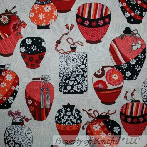 BonEful Fabric FQ Cotton Quilt White B/&W Red Flower VASE African French Country