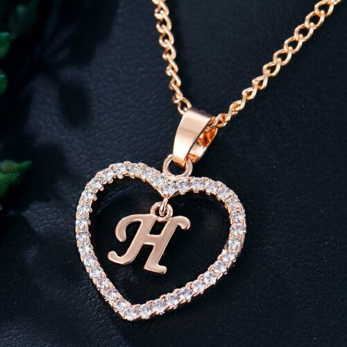 Chic Letter A-Z Crystal Initial Alphabet Love Heart Necklace Pendant Chain Charm