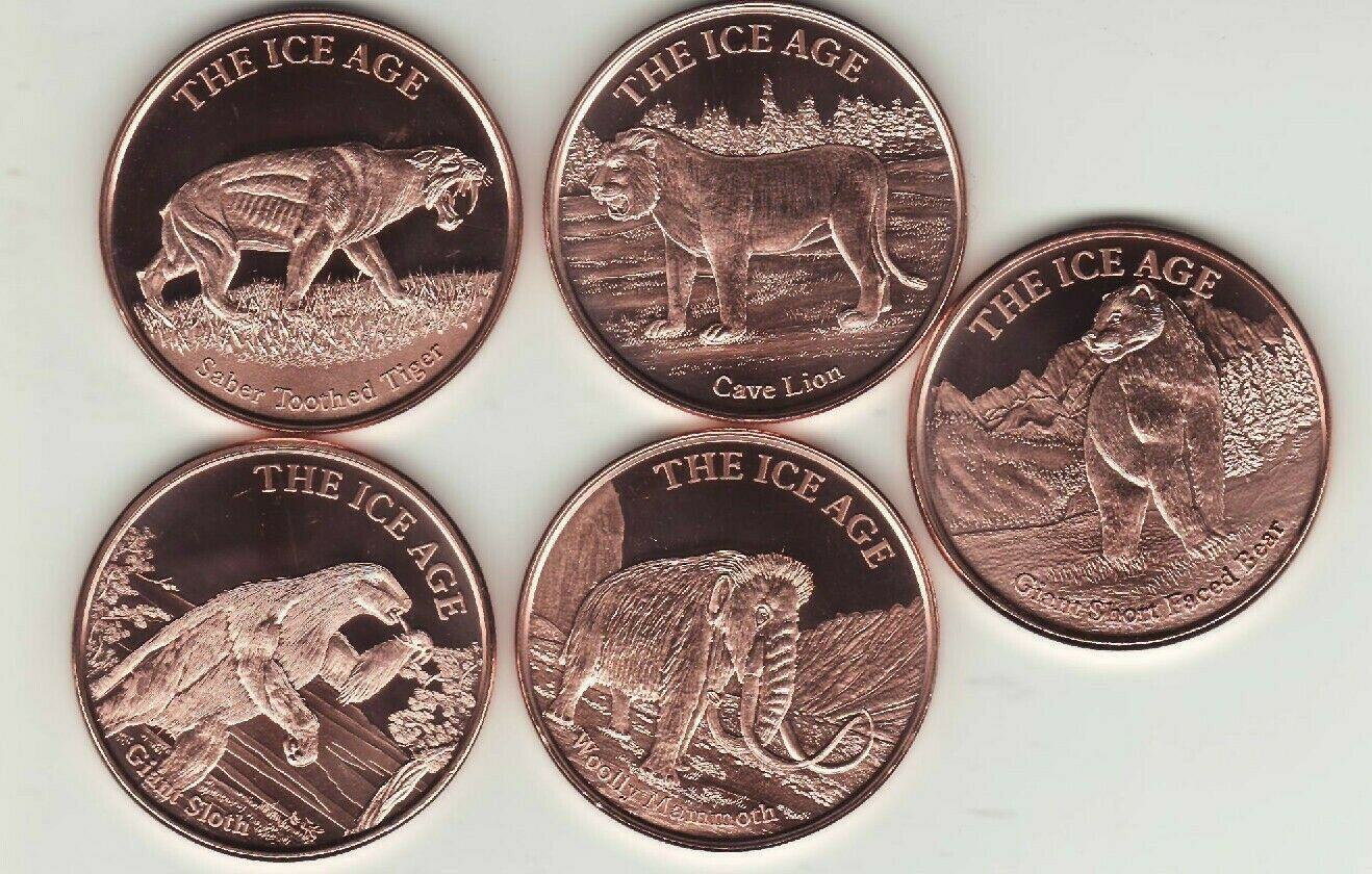 The Ice Age Pure Copper Bullion Round!! Woolly Mammoth 1oz