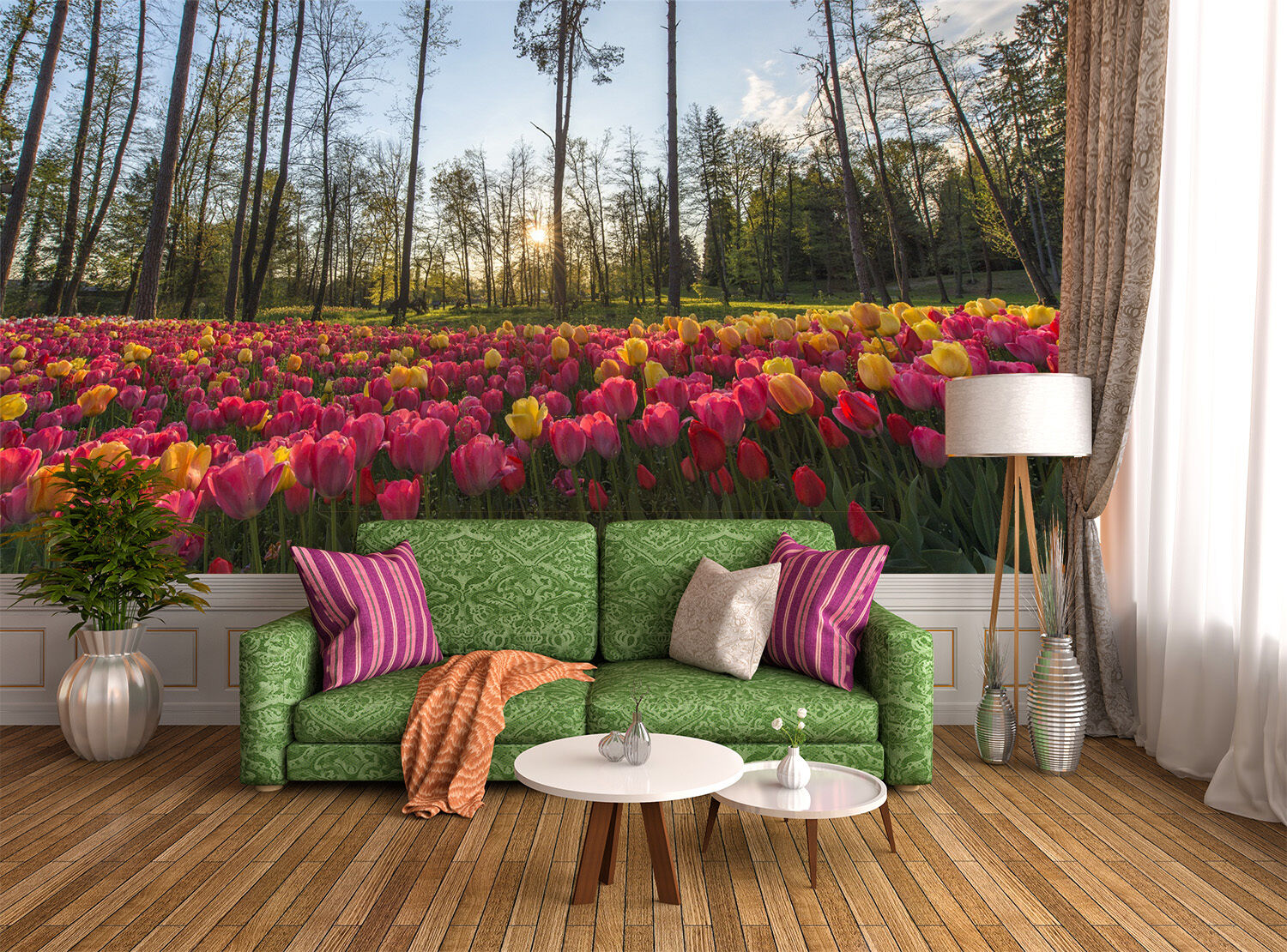 3D Tulip flower field forest Wall Paper Print Decal Decal Decal Wall Deco Indoor wall Mural 56fe35