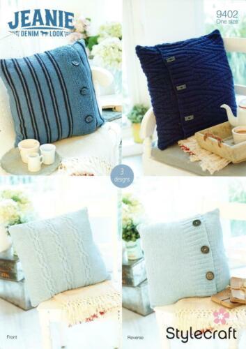 Stylecraft 9402 Knitting Pattern-Housses de Coussin en Jeanie