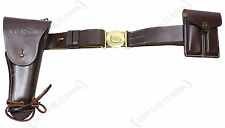 US Army M1916 LEATHER BELT SET - Colt 1911 WW2 Gun Holster and Twin Ammo Pouch