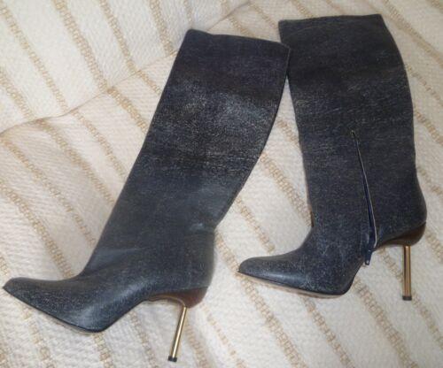 Knelengde Alle Grey uk3 Støvler Brand Versace Gianni New Lærhælter eu36 qwRfvxO