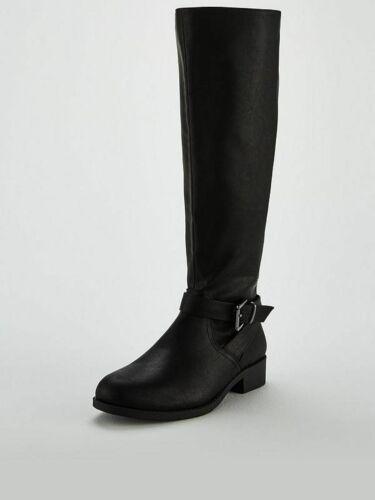 BNIB VERY LONA WIDE FIT WOMENS LADIES KNEE HIGH RIDING BOOT BLACK UK 8 RRP £45