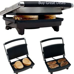 Panini-Press-Gourmet-Sandwich-Maker-Grill-Toaster-Easy-Clean-Non-Stick-Bar-NEW