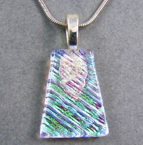 Dichroic-Fused-Glass-Clear-Green-Lime-Slide-PENDANT-Keystone-Triangle-Ripple