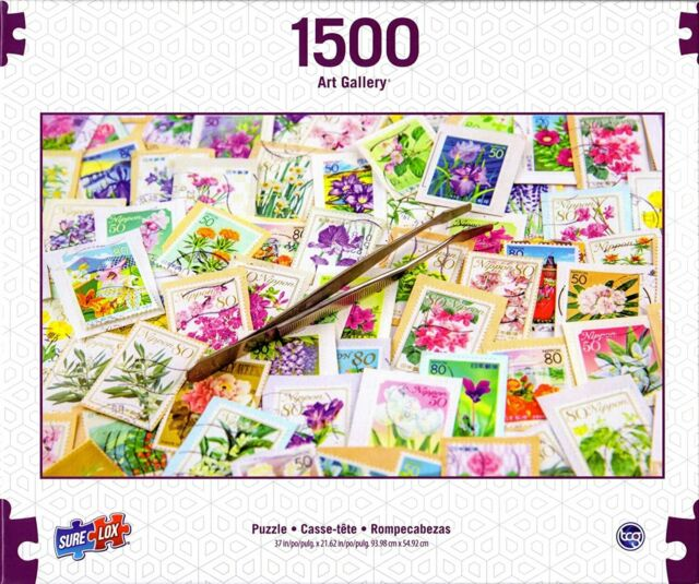 """1500 PC Jigsaw Puzzle Art Gallery Spring Stamp Collection, 37"""" x 21.62"""" Finish"""