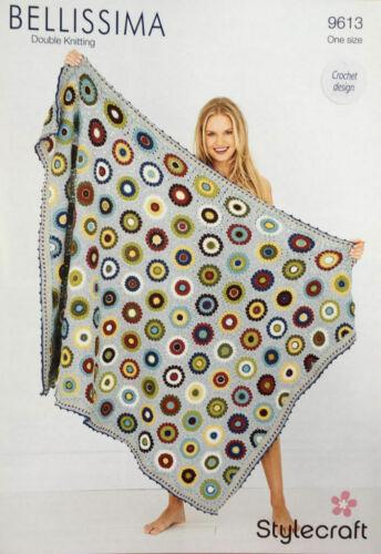 Stylecraft 9613 Knitting Pattern Pressed Flowers Blanket In Bellissima DK