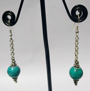 Regional-Sterling-silver-earring-Handmade-Asian-jewelry-Turquoise-stone-DM8