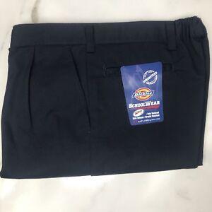 63da7321fe Details about Dickies Boys Navy Pleat Front School Uniform Pants, Size 8  Husky. #202