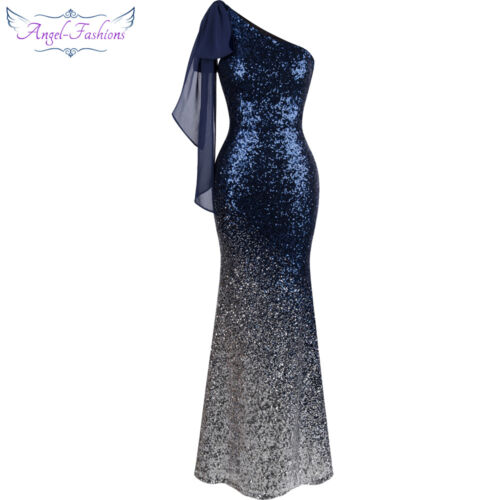 Angel-fashions Damen Asymmetrisch Band allmahlich Paillette Langes Kleid  286