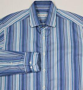15//38 - L0 Details about  /$550 Etro Blue Striped Cotton Shirt Slim