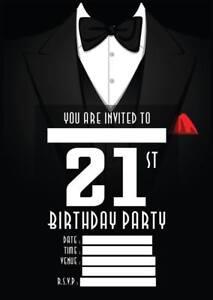 Image Is Loading MENS 21ST BIRTHDAY PARTY INVITATIONS TUXEDO INVITES BLACK