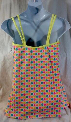NEW MAINSTREAM Bathing SwimSuit Size 16 Neon Yellow Blue Skirt Check Print Dress