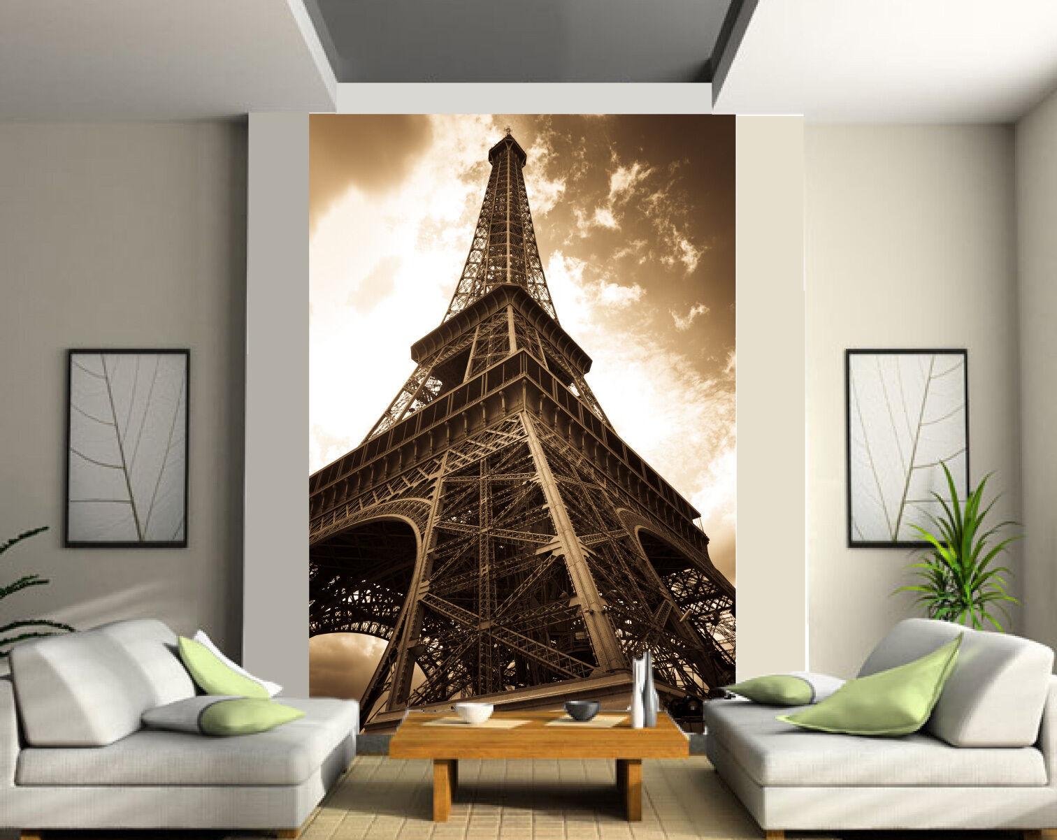 Papier peint géant 2 lés, tapisserie murale murale tapisserie déco Tour Eiffel Sépia réf 133 15ac61