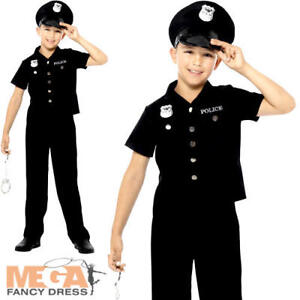 Hat Boys Fancy Dress American Cop Uniform Kids Childs Costume Police Officer