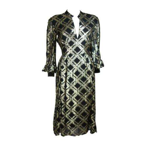CEIL CHAPMAN Black Silk and Gold Cocktail Dress S… - image 1