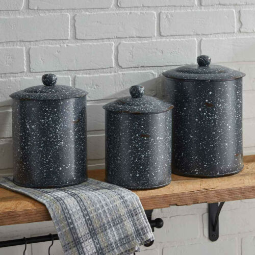 Granite Enamelware Canister Set w//Rubber Gaskets in Lids Available Red or Gray
