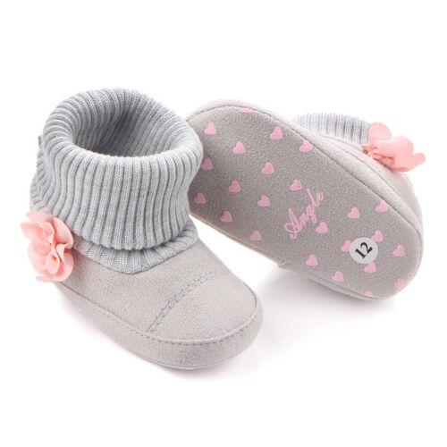 Toddler Infant Baby Girl Winter Snow Boots Soft Crib Prewalker Kids Shoes 0-12M